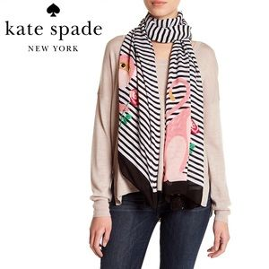 Kate Spade Striped Monkey Rose Wrap Scarf